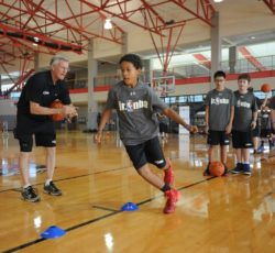 Las Vegas, NV -July 13: Kids along with NBA legend Eddie Johnson and rookie Malik Beasley participate in the NBA FIT Clinic Presented by Under Armor on July 13, 2016 at the UNLV Student Recreation Building. NOTE TO USER: User expressly acknowledges and agrees that, by downloading and/or using this Photograph, user is consenting to the terms and conditions of the Getty Images License Agreement. Mandatory Copyright Notice: Copyright 2016 NBAE (Photo by Bart Young/NBAE via Getty Images)